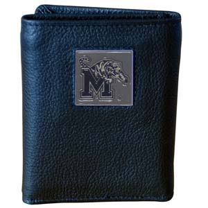 Memphis Tigers College Leather Tri-fold Wallet - This Memphis Tigers College Leather Tri-fold Wallet is made of high quality fine grain leather with school logo sculpted and enameled with fine detail on the front panel. Packaged in a windowed box. Thank you for shopping with CrazedOutSports.com