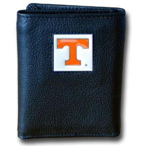 College Tri-fold - Tennessee Volunteers - Our college Tri-fold wallet is made of high quality fine grain leather with school logo sculpted and enameled with fine detail on the front panel. Packaged in a windowed box. Thank you for shopping with CrazedOutSports.com