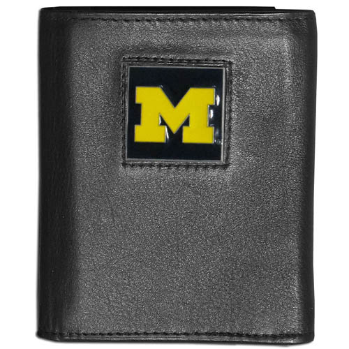 Michigan Wolverines Leather Trifold Wallet - This college Michigan Wolverines Leather Trifold Wallet is made of high quality fine grain leather with school logo sculpted and enameled with fine detail on the front panel. Michigan Wolverines Leather Trifold Wallet is packaged in a windowed box. Thank you for shopping with CrazedOutSports.com