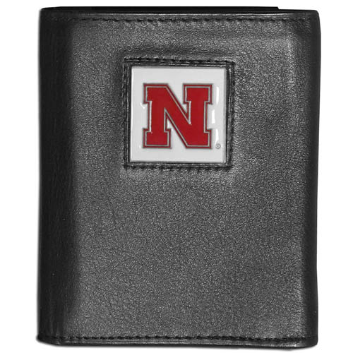 College Tri-fold - Nebraska Cornhuskers - Our college Tri-fold wallet is made of high quality fine grain leather with school logo sculpted and enameled with fine detail on the front panel. Packaged in a windowed box. Thank you for shopping with CrazedOutSports.com