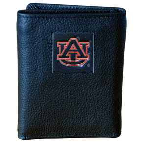 College Tri-fold - Auburn Tigers - Our college Tri-fold wallet is made of high quality fine grain leather with Auburn Tigers logo sculpted and enameled with fine detail on the front panel. Packaged in a windowed box. Thank you for shopping with CrazedOutSports.com
