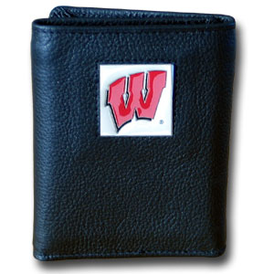 College Tri-fold - Wisconsin Badgers - Our  college Tri-fold wallet is made of high quality fine grain leather with school logo sculpted and enameled with fine detail on the front panel. Check out our entire line of  NCAA merchandise! Thank you for shopping with CrazedOutSports.com