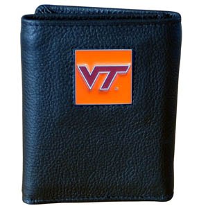 College Tri-fold - Virginia Tech Hokies - Our college Tri-fold wallet is made of high quality fine grain leather with school logo sculpted and enameled with fine detail on the front panel. Packaged in a windowed box. Thank you for shopping with CrazedOutSports.com