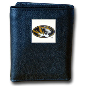 College Tri-fold Wallets Boxed- Missouri Tigers - Our college Tri-fold wallet is made of high quality fine grain leather with school logo sculpted and enameled with fine detail on the front panel. Packaged in a windowed box. Thank you for shopping with CrazedOutSports.com