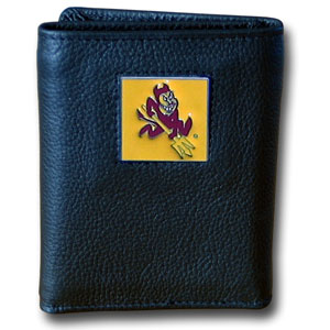 College Tri-fold - Arizona State Sun Devils - Our Arizona State Sun Devils college Tri-fold wallet is made of high quality fine grain leather with school logo sculpted and enameled with fine detail on the front panel. Check out our entire line of  NCAA merchandise! Thank you for shopping with CrazedOutSports.com