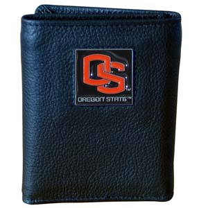 College Tri-fold - Oregon State Beavers - Our college Tri-fold wallet is made of high quality fine grain leather with school logo sculpted and enameled with fine detail on the front panel. Packaged in a windowed box. Thank you for shopping with CrazedOutSports.com
