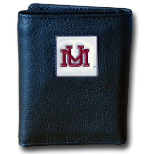 College Tri-fold - Montana Grizzlies - Our college Tri-fold wallet is made of high quality fine grain leather with school logo sculpted and enameled with fine detail on the front panel. Packaged in a windowed box. Thank you for shopping with CrazedOutSports.com