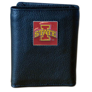 College Tri-fold - Iowa St. Cyclones - This Iowa St. Cyclones college Tri-fold wallet is made of high quality fine grain leather with school logo sculpted and enameled with fine detail on the front panel. Packaged in a windowed box. Thank you for shopping with CrazedOutSports.com