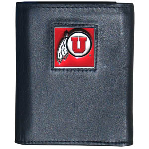 College Tri-fold - Utah Utes - Our  college Tri-fold wallet is made of high quality fine grain leather with school logo sculpted and enameled with fine detail on the front panel. Check out our entire line of  NCAA merchandise! Thank you for shopping with CrazedOutSports.com