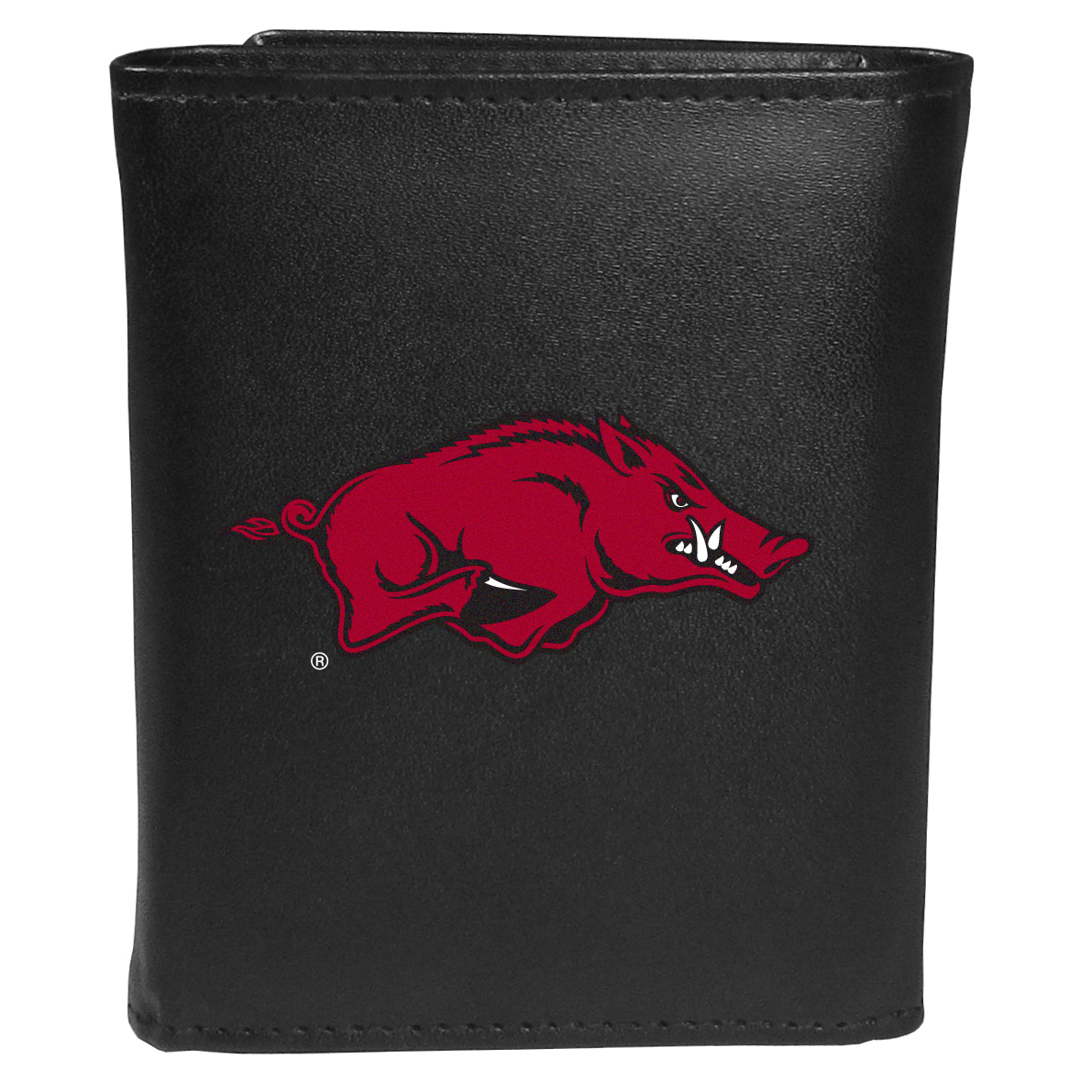 Arkansas Razorbacks Tri-fold Wallet Large Logo - Sports fans do not have to sacrifice style with this classic tri-fold wallet that sports theArkansas Razorbacks?extra large logo. This men's fashion accessory has a leather grain look and expert craftmanship for a quality wallet at a great price. The wallet features inner credit card slots, windowed ID slot and a large billfold pocket. The front of the wallet features an extra large printed team logo.