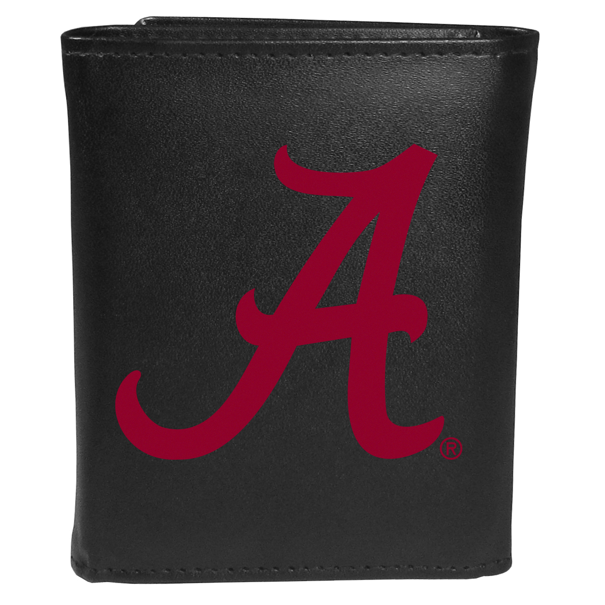 Alabama Crimson Tide Tri-fold Wallet Large Logo - Sports fans do not have to sacrifice style with this classic tri-fold wallet that sports theAlabama Crimson Tide?extra large logo. This men's fashion accessory has a leather grain look and expert craftmanship for a quality wallet at a great price. The wallet features inner credit card slots, windowed ID slot and a large billfold pocket. The front of the wallet features an extra large printed team logo.