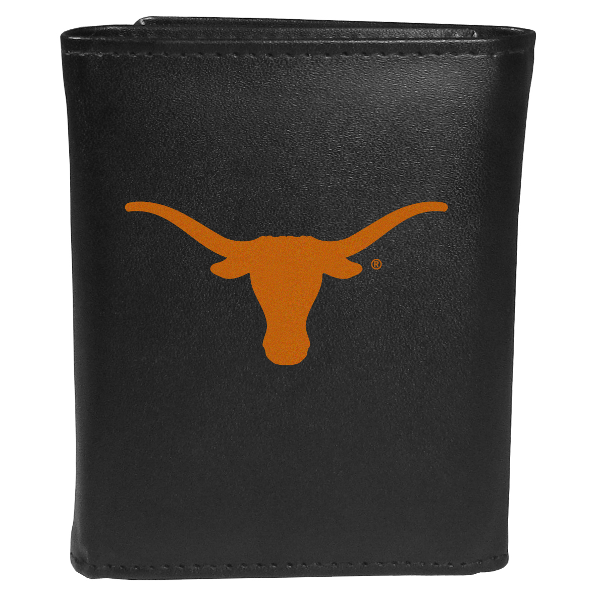 Texas Longhorns Tri-fold Wallet Large Logo - Sports fans do not have to sacrifice style with this classic tri-fold wallet that sports theTexas Longhorns?extra large logo. This men's fashion accessory has a leather grain look and expert craftmanship for a quality wallet at a great price. The wallet features inner credit card slots, windowed ID slot and a large billfold pocket. The front of the wallet features an extra large printed team logo.