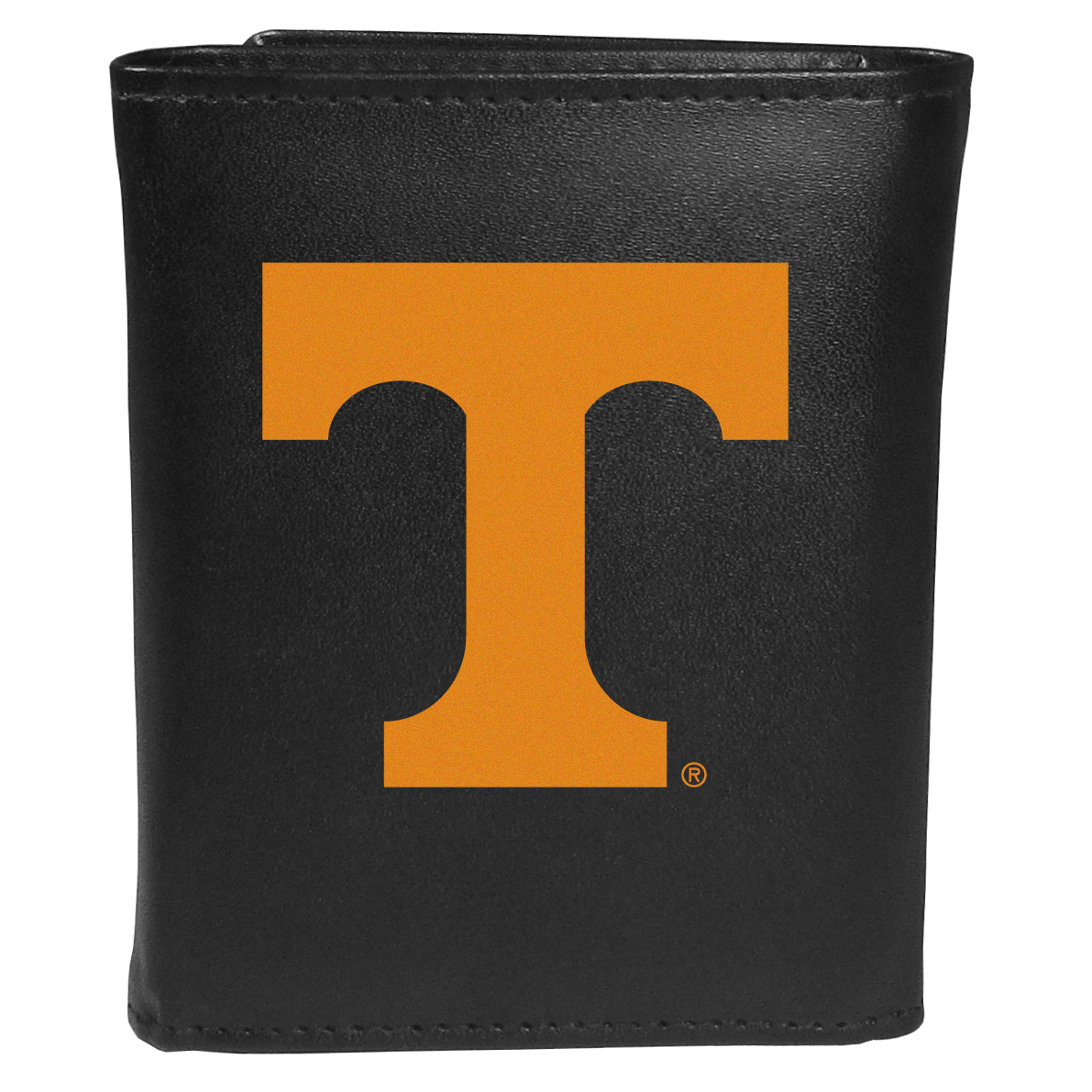 Tennessee Volunteers Tri-fold Wallet Large Logo - Sports fans do not have to sacrifice style with this classic tri-fold wallet that sports theTennessee Volunteers?extra large logo. This men's fashion accessory has a leather grain look and expert craftmanship for a quality wallet at a great price. The wallet features inner credit card slots, windowed ID slot and a large billfold pocket. The front of the wallet features an extra large printed team logo.
