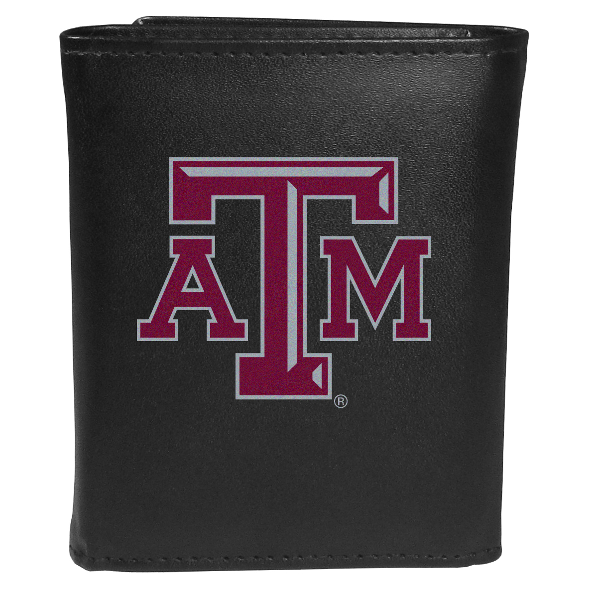 Texas A and M Aggies Tri-fold Wallet Large Logo - Sports fans do not have to sacrifice style with this classic tri-fold wallet that sports theTexas A & M Aggies?extra large logo. This men's fashion accessory has a leather grain look and expert craftmanship for a quality wallet at a great price. The wallet features inner credit card slots, windowed ID slot and a large billfold pocket. The front of the wallet features an extra large printed team logo.