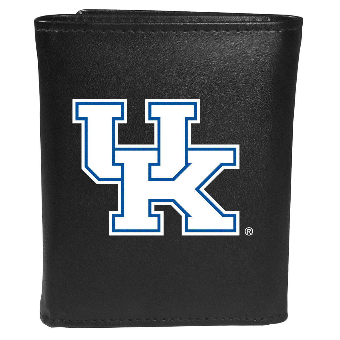 Kentucky Wildcats Tri-fold Wallet Large Logo - Sports fans do not have to sacrifice style with this classic tri-fold wallet that sports theKentucky Wildcats?extra large logo. This men's fashion accessory has a leather grain look and expert craftmanship for a quality wallet at a great price. The wallet features inner credit card slots, windowed ID slot and a large billfold pocket. The front of the wallet features an extra large printed team logo.