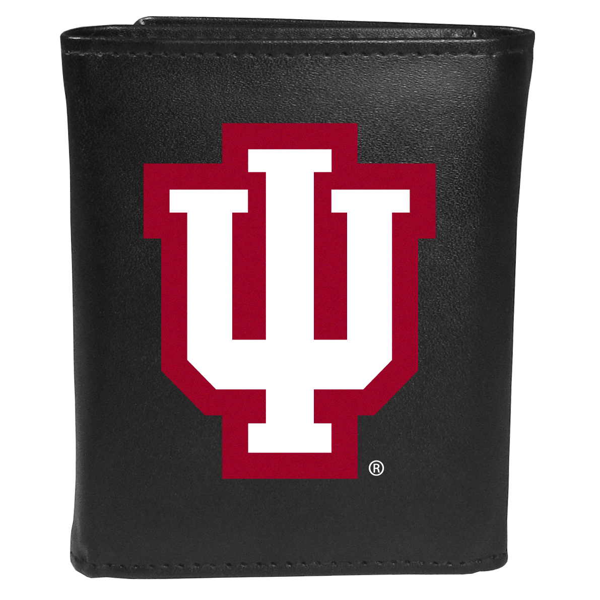 Indiana Hoosiers Tri-fold Wallet Large Logo - Sports fans do not have to sacrifice style with this classic tri-fold wallet that sports theIndiana Hoosiers?extra large logo. This men's fashion accessory has a leather grain look and expert craftmanship for a quality wallet at a great price. The wallet features inner credit card slots, windowed ID slot and a large billfold pocket. The front of the wallet features an extra large printed team logo.