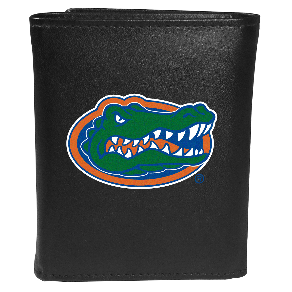 Florida Gators Tri-fold Wallet Large Logo - Sports fans do not have to sacrifice style with this classic tri-fold wallet that sports theFlorida Gators?extra large logo. This men's fashion accessory has a leather grain look and expert craftmanship for a quality wallet at a great price. The wallet features inner credit card slots, windowed ID slot and a large billfold pocket. The front of the wallet features an extra large printed team logo.