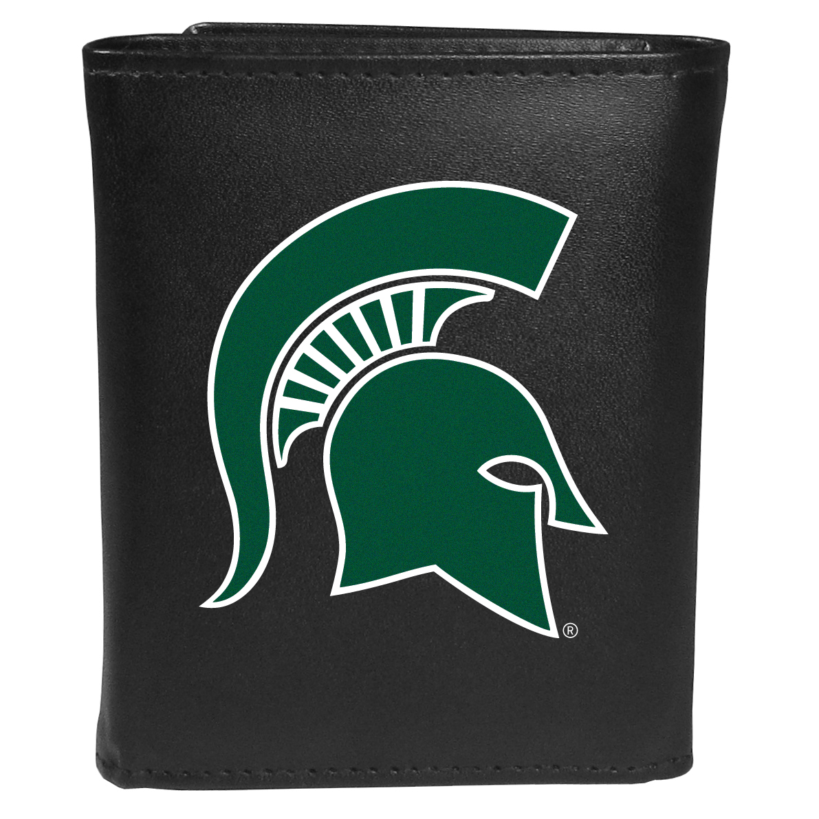 Michigan St. Spartans Tri-fold Wallet Large Logo - Sports fans do not have to sacrifice style with this classic tri-fold wallet that sports theMichigan St. Spartans?extra large logo. This men's fashion accessory has a leather grain look and expert craftmanship for a quality wallet at a great price. The wallet features inner credit card slots, windowed ID slot and a large billfold pocket. The front of the wallet features an extra large printed team logo.