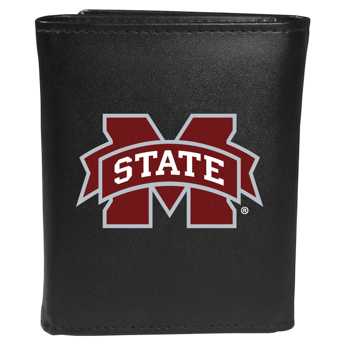 Mississippi St. Bulldogs Tri-fold Wallet Large Logo - Sports fans do not have to sacrifice style with this classic tri-fold wallet that sports theMississippi St. Bulldogs?extra large logo. This men's fashion accessory has a leather grain look and expert craftmanship for a quality wallet at a great price. The wallet features inner credit card slots, windowed ID slot and a large billfold pocket. The front of the wallet features an extra large printed team logo.