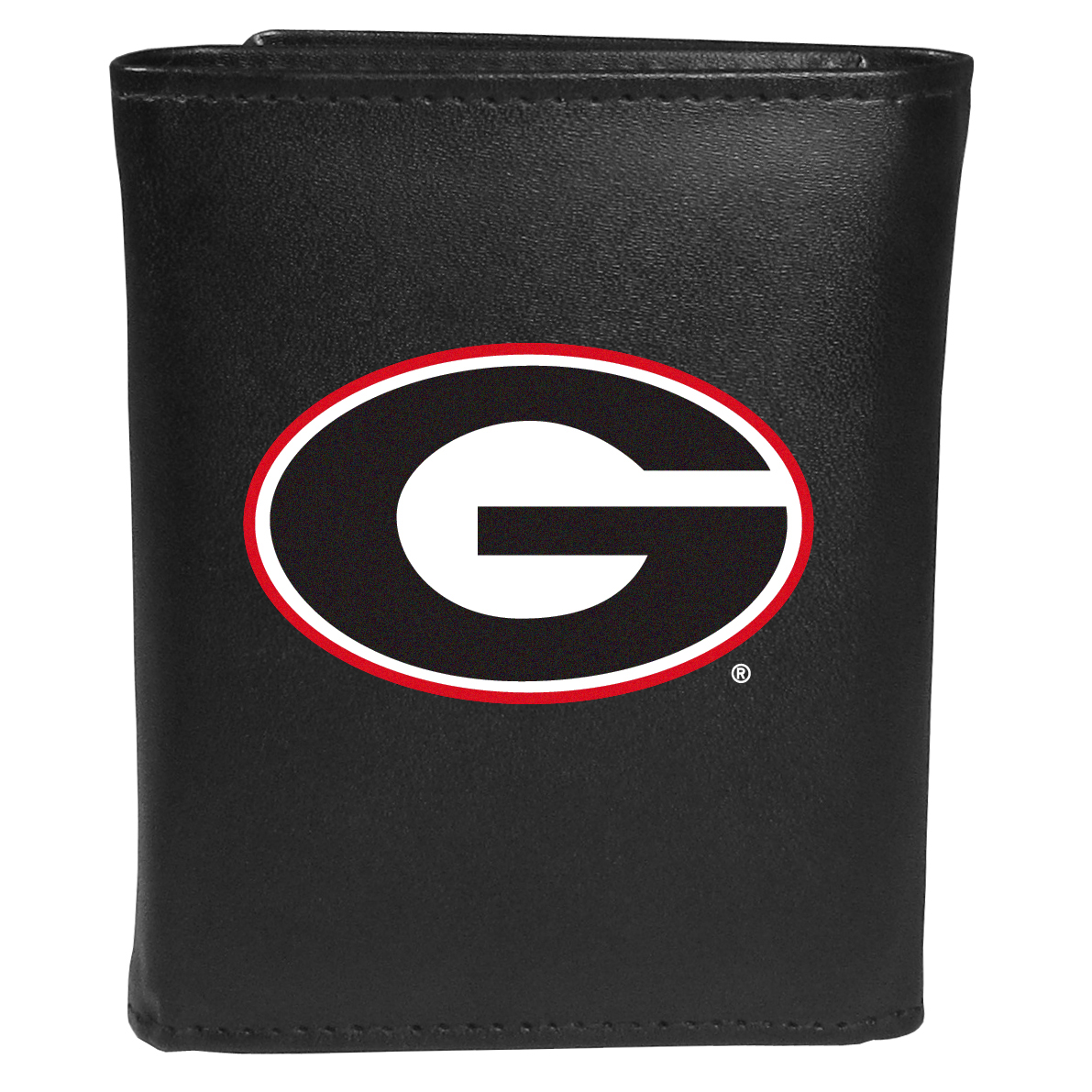 Georgia Bulldogs Tri-fold Wallet Large Logo - Sports fans do not have to sacrifice style with this classic tri-fold wallet that sports theGeorgia Bulldogs?extra large logo. This men's fashion accessory has a leather grain look and expert craftmanship for a quality wallet at a great price. The wallet features inner credit card slots, windowed ID slot and a large billfold pocket. The front of the wallet features an extra large printed team logo.