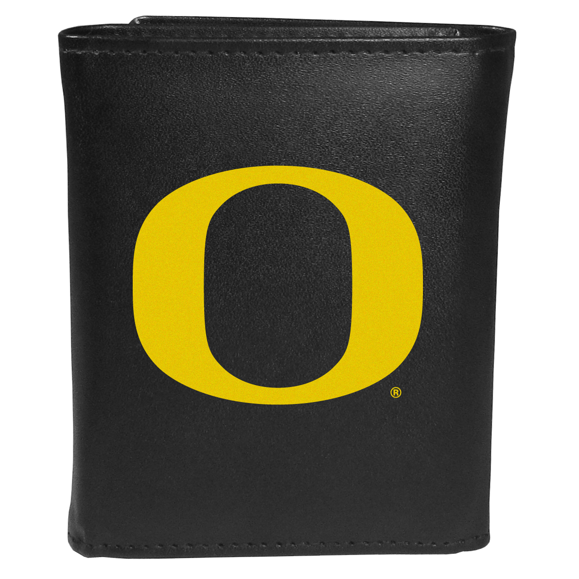 Oregon Ducks Tri-fold Wallet Large Logo - Sports fans do not have to sacrifice style with this classic tri-fold wallet that sports theOregon Ducks?extra large logo. This men's fashion accessory has a leather grain look and expert craftmanship for a quality wallet at a great price. The wallet features inner credit card slots, windowed ID slot and a large billfold pocket. The front of the wallet features an extra large printed team logo.
