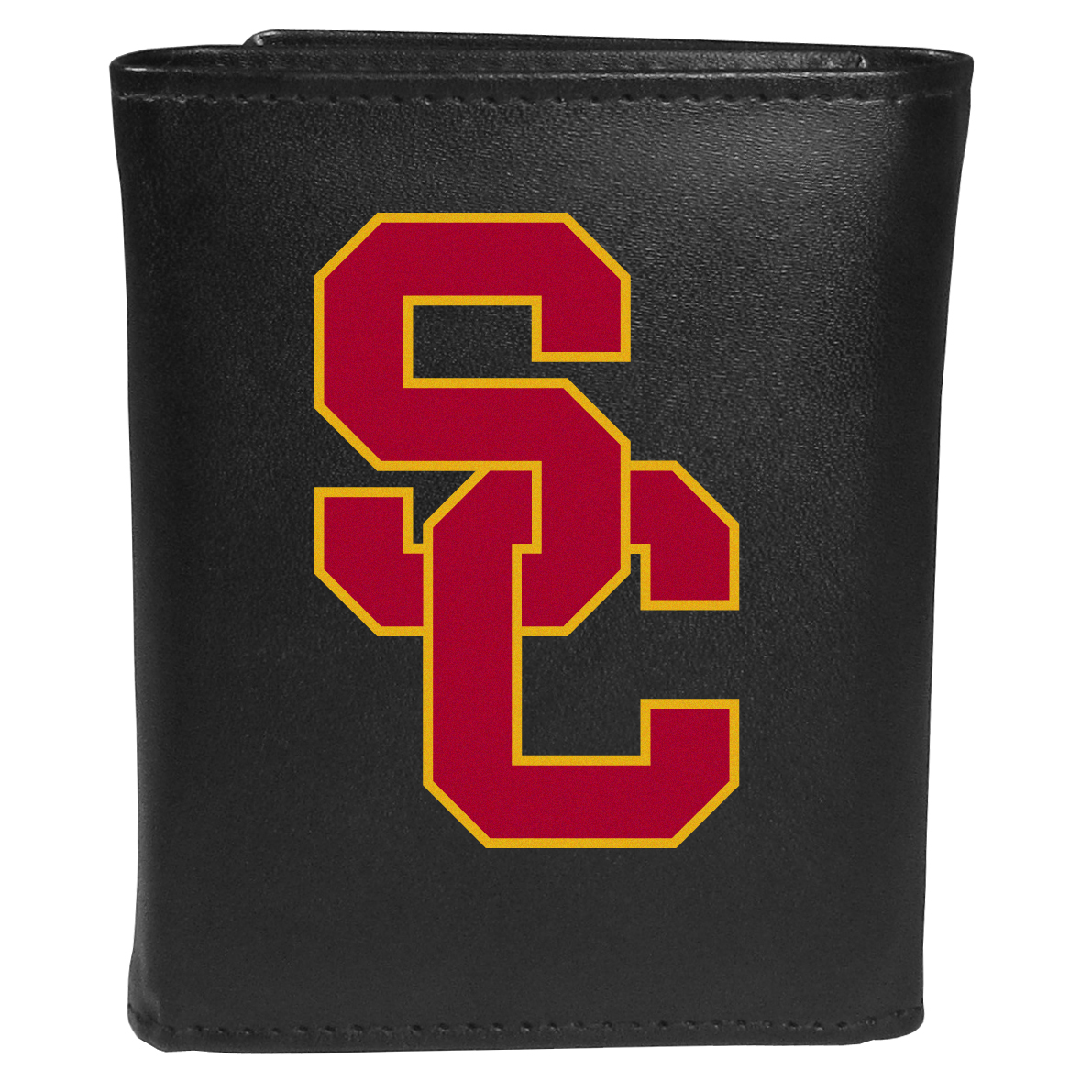 USC Trojans Tri-fold Wallet Large Logo - Sports fans do not have to sacrifice style with this classic tri-fold wallet that sports theUSC Trojans?extra large logo. This men's fashion accessory has a leather grain look and expert craftmanship for a quality wallet at a great price. The wallet features inner credit card slots, windowed ID slot and a large billfold pocket. The front of the wallet features an extra large printed team logo.