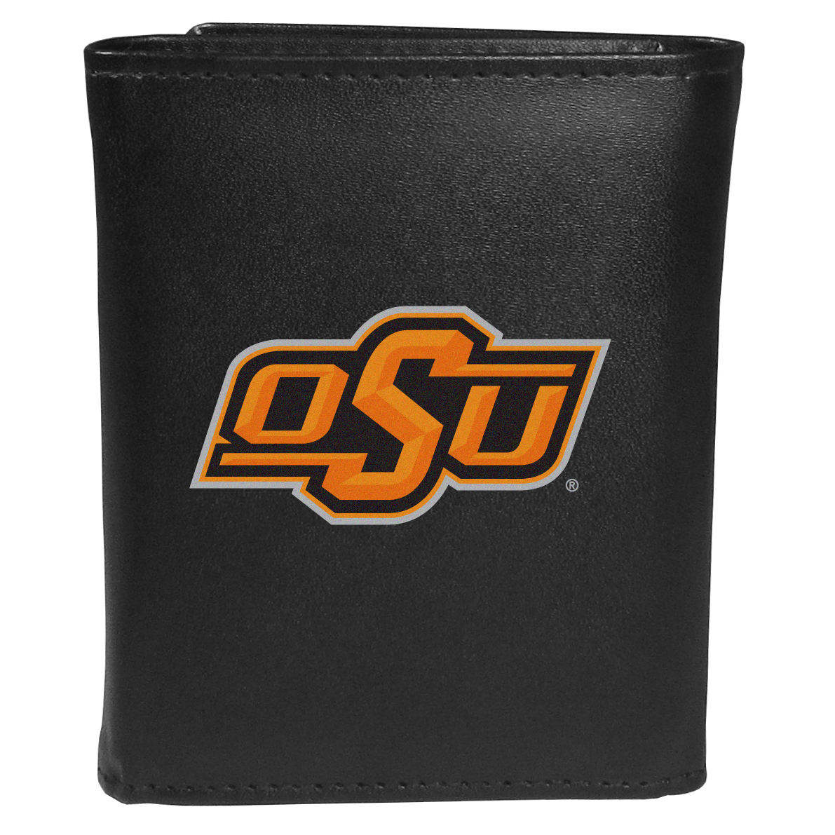 Oklahoma St. Cowboys Tri-fold Wallet Large Logo - Sports fans do not have to sacrifice style with this classic tri-fold wallet that sports theOklahoma St. Cowboys?extra large logo. This men's fashion accessory has a leather grain look and expert craftmanship for a quality wallet at a great price. The wallet features inner credit card slots, windowed ID slot and a large billfold pocket. The front of the wallet features an extra large printed team logo.