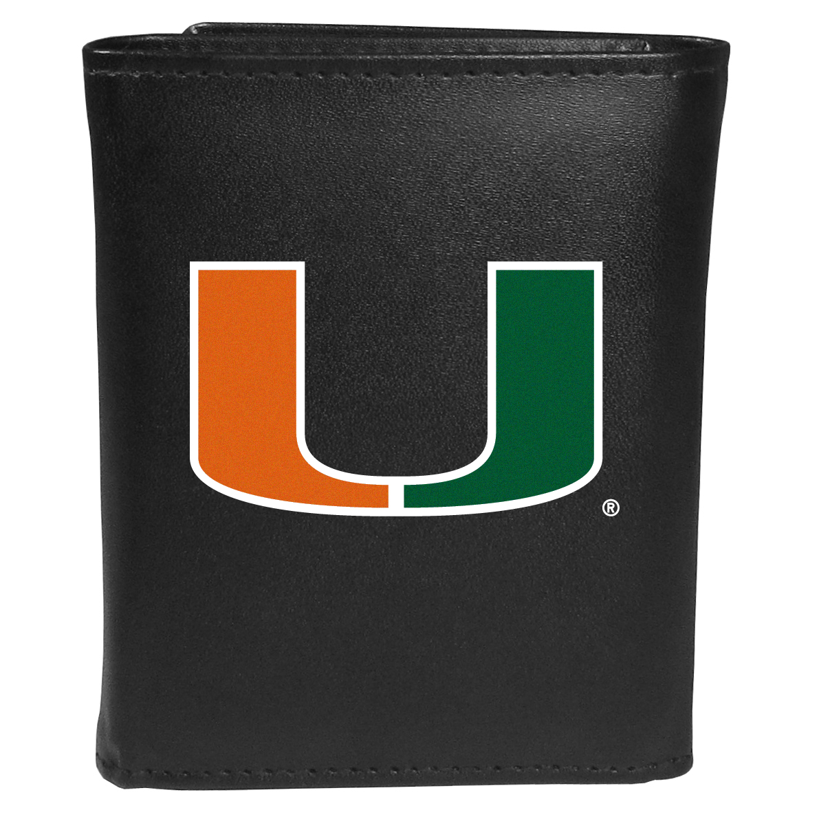 Miami Hurricanes Tri-fold Wallet Large Logo - Sports fans do not have to sacrifice style with this classic tri-fold wallet that sports theMiami Hurricanes?extra large logo. This men's fashion accessory has a leather grain look and expert craftmanship for a quality wallet at a great price. The wallet features inner credit card slots, windowed ID slot and a large billfold pocket. The front of the wallet features an extra large printed team logo.