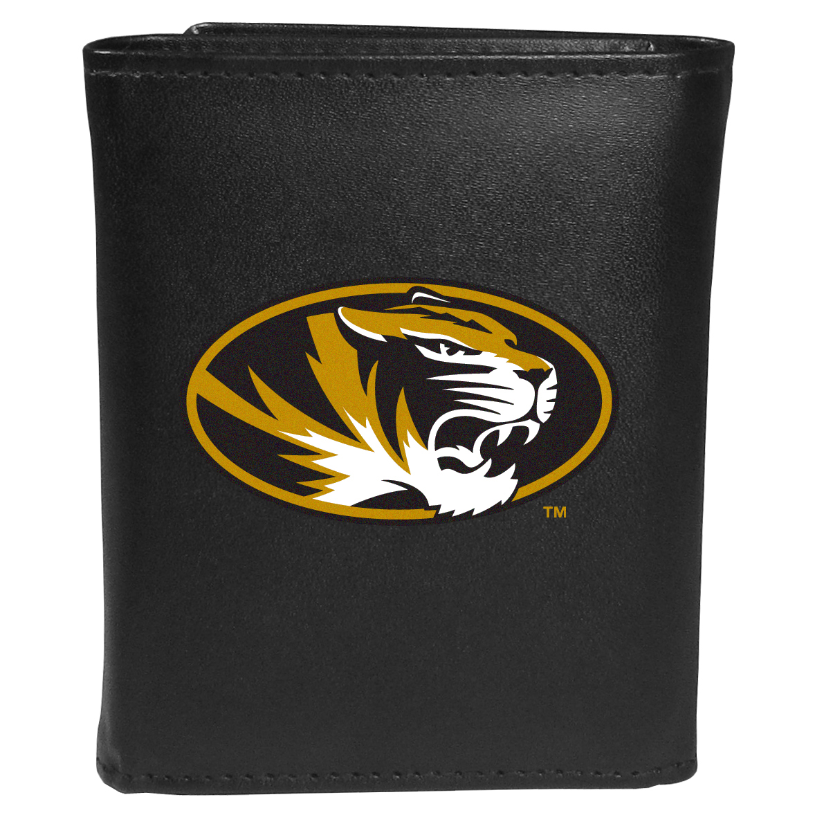 Missouri Tigers Tri-fold Wallet Large Logo - Sports fans do not have to sacrifice style with this classic tri-fold wallet that sports theMissouri Tigers?extra large logo. This men's fashion accessory has a leather grain look and expert craftmanship for a quality wallet at a great price. The wallet features inner credit card slots, windowed ID slot and a large billfold pocket. The front of the wallet features an extra large printed team logo.