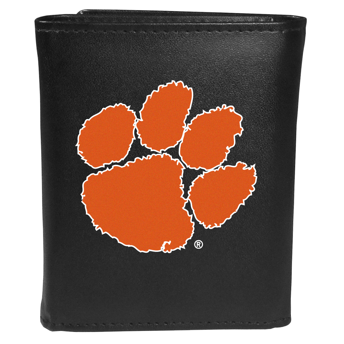 Clemson Tigers Tri-fold Wallet Large Logo - Sports fans do not have to sacrifice style with this classic tri-fold wallet that sports theClemson Tigers?extra large logo. This men's fashion accessory has a leather grain look and expert craftmanship for a quality wallet at a great price. The wallet features inner credit card slots, windowed ID slot and a large billfold pocket. The front of the wallet features an extra large printed team logo.