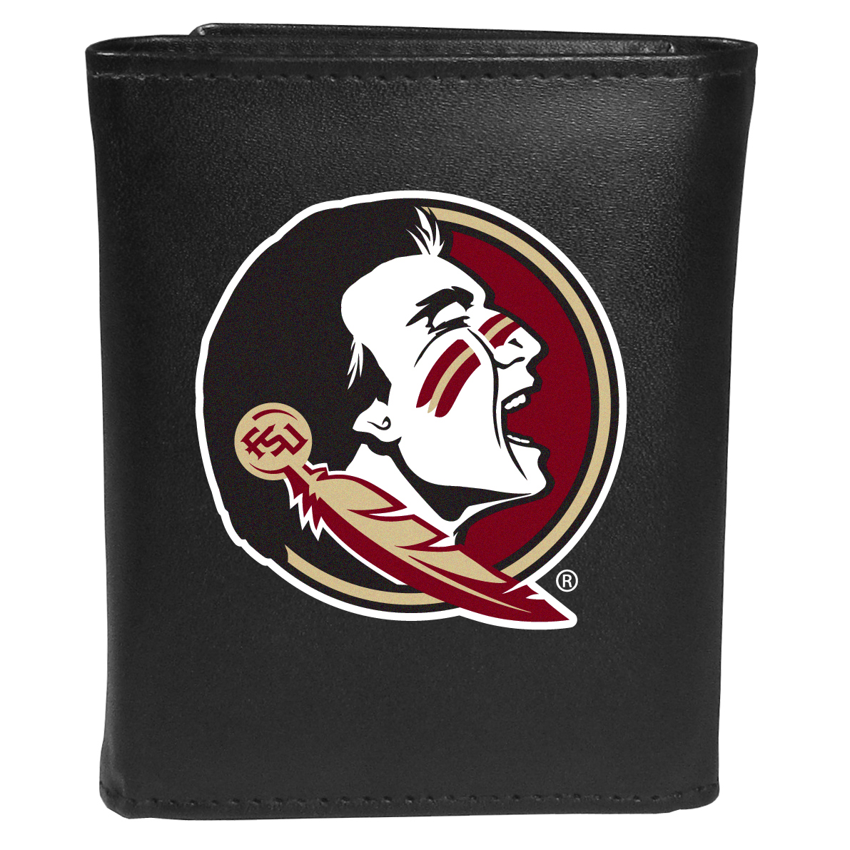 Florida St. Seminoles Tri-fold Wallet Large Logo - Sports fans do not have to sacrifice style with this classic tri-fold wallet that sports theFlorida St. Seminoles?extra large logo. This men's fashion accessory has a leather grain look and expert craftmanship for a quality wallet at a great price. The wallet features inner credit card slots, windowed ID slot and a large billfold pocket. The front of the wallet features an extra large printed team logo.