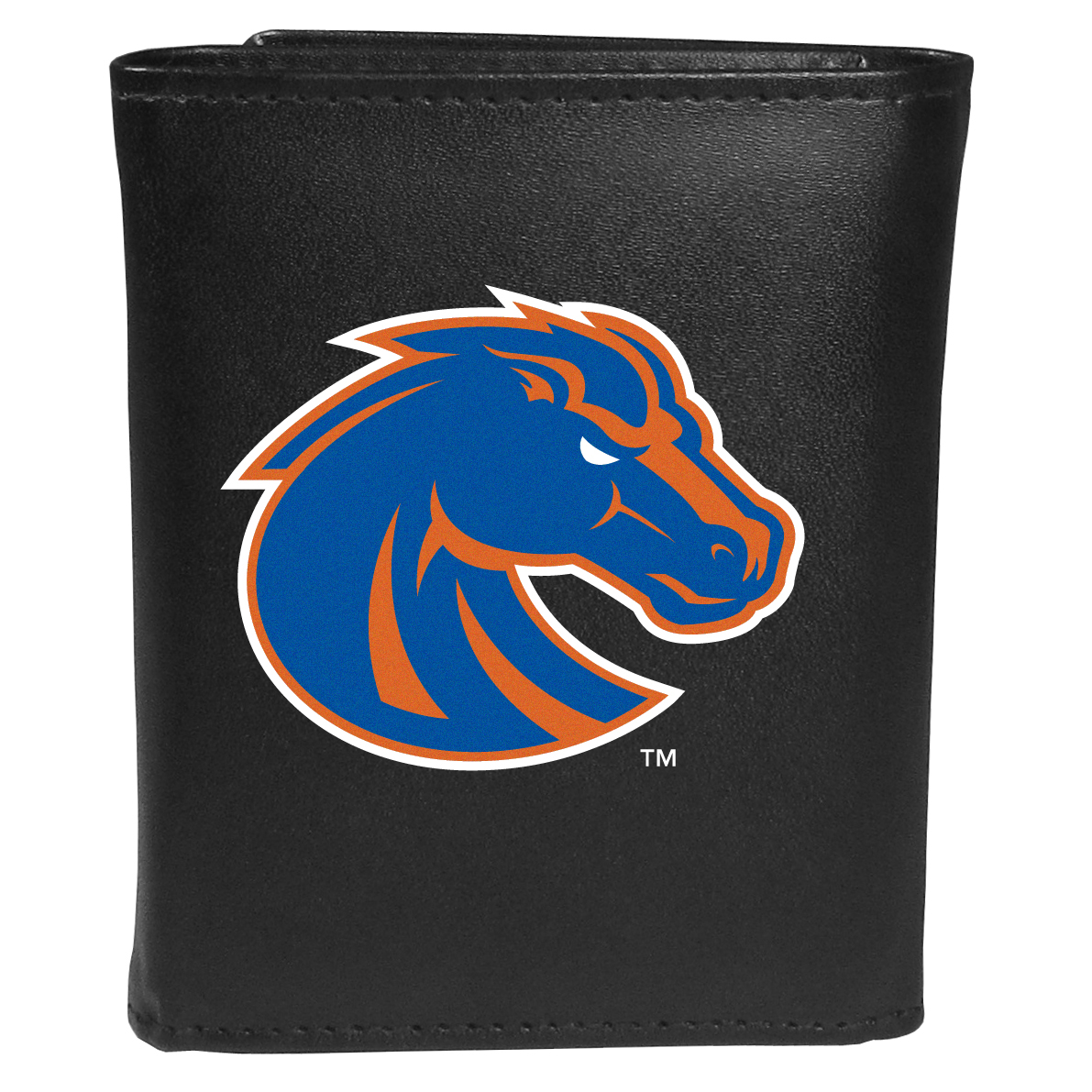 Boise St. Broncos Tri-fold Wallet Large Logo - Sports fans do not have to sacrifice style with this classic tri-fold wallet that sports theBoise St. Broncos?extra large logo. This men's fashion accessory has a leather grain look and expert craftmanship for a quality wallet at a great price. The wallet features inner credit card slots, windowed ID slot and a large billfold pocket. The front of the wallet features an extra large printed team logo.