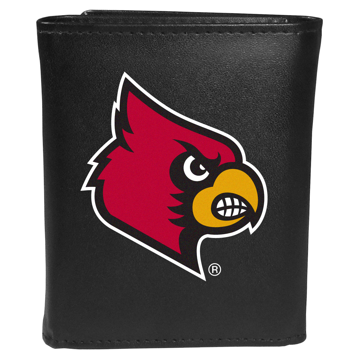 Louisville Cardinals Tri-fold Wallet Large Logo - Sports fans do not have to sacrifice style with this classic tri-fold wallet that sports theLouisville Cardinals?extra large logo. This men's fashion accessory has a leather grain look and expert craftmanship for a quality wallet at a great price. The wallet features inner credit card slots, windowed ID slot and a large billfold pocket. The front of the wallet features an extra large printed team logo.