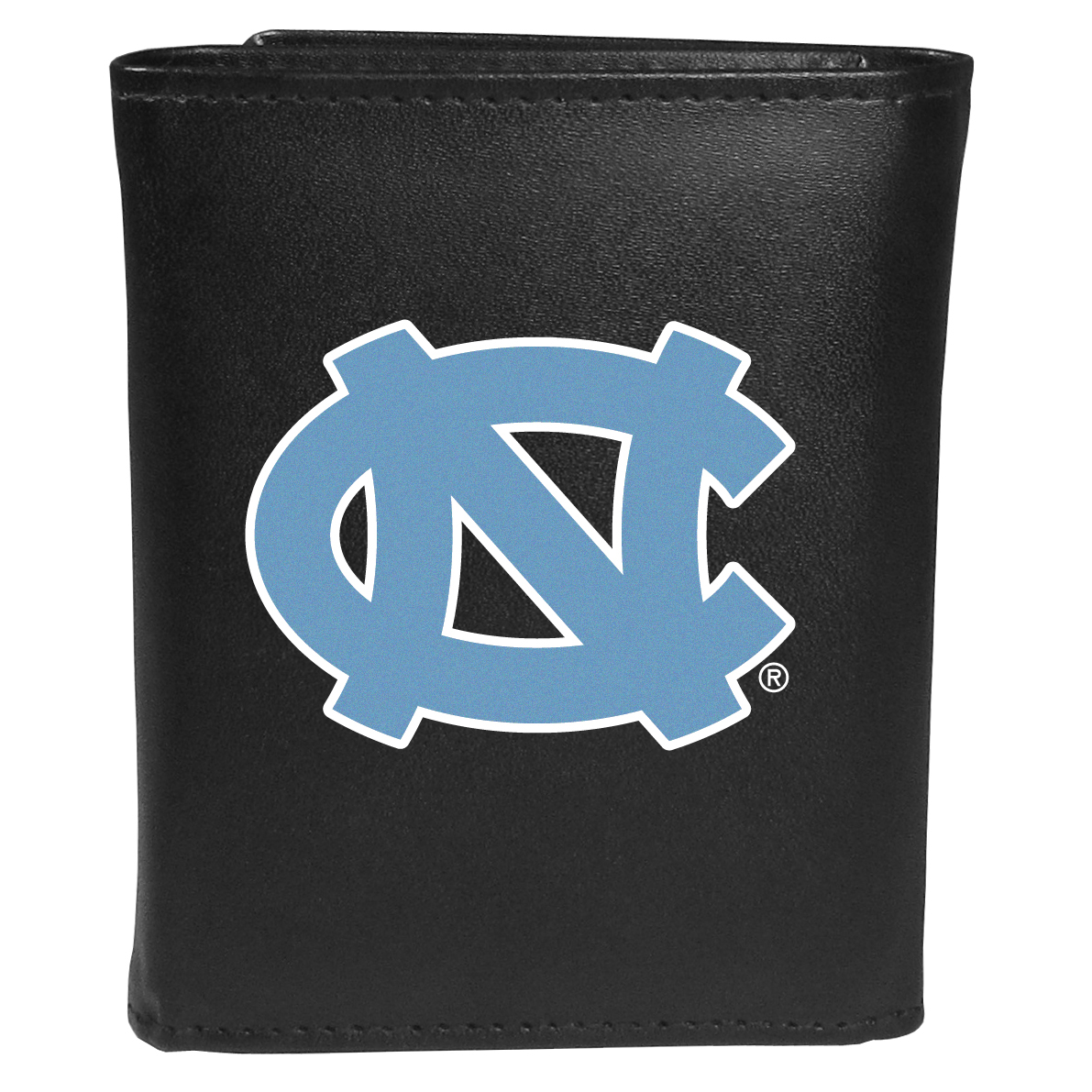 N. Carolina Tar Heels Tri-fold Wallet Large Logo - Sports fans do not have to sacrifice style with this classic tri-fold wallet that sports theN. Carolina Tar Heels?extra large logo. This men's fashion accessory has a leather grain look and expert craftmanship for a quality wallet at a great price. The wallet features inner credit card slots, windowed ID slot and a large billfold pocket. The front of the wallet features an extra large printed team logo.