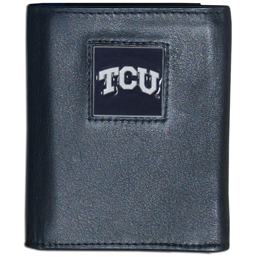 TCU Leather Tri-fold Wallet - Our College collectors leather/nylon tri-fold wallet features a sculpted and hand painted team square on a black leather trifold. Includes an ID window, slots for credit cards and clear plastic photo sleeves.  For a sporty feel, the liner of the wallet is high quality nylon. Thank you for shopping with CrazedOutSports.com
