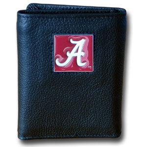College Tri-fold - Alabama Crimson Tide - Our Alabama Crimson Tide College collectors leather/nylon tri-fold wallet features a sculpted and hand painted team square on a black leather trifold. Includes an ID window, slots for credit cards and clear plastic photo sleeves.  For a sporty feel, the liner of the wallet is high quality nylon. Thank you for shopping with CrazedOutSports.com