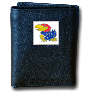 College Tri-fold - Kansas Jayhawks - This Kansas Jayhawks College collectors leather/nylon tri-fold wallet features a sculpted and hand painted team square on a black leather trifold. Includes an ID window, slots for credit cards and clear plastic photo sleeves.  For a sporty feel, the liner of the wallet is high quality nylon. Thank you for shopping with CrazedOutSports.com