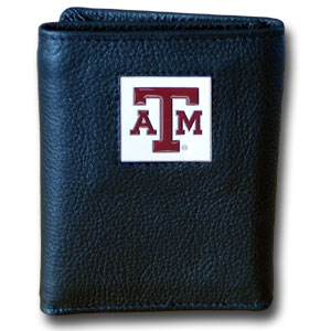 College Tri-fold - Texas AandM Aggies - Our College collectors leather/nylon tri-fold wallet features a sculpted and hand painted team square on a black leather trifold. Includes an ID window, slots for credit cards and clear plastic photo sleeves.  For a sporty feel, the liner of the wallet is high quality nylon. Thank you for shopping with CrazedOutSports.com