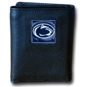 College Tri-fold - Penn St. Nittany Lions - Our College collectors leather/nylon tri-fold wallet features a sculpted and hand painted team square on a black leather trifold. Includes an ID window, slots for credit cards and clear plastic photo sleeves.  For a sporty feel, the liner of the wallet is high quality nylon. Thank you for shopping with CrazedOutSports.com