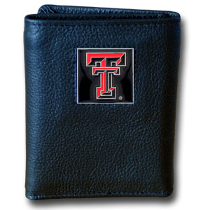 College Tri-fold - Texas Tech Raiders - Our College collectors leather/nylon tri-fold wallet features a sculpted and hand painted team square on a black leather trifold. Includes an ID window, slots for credit cards and clear plastic photo sleeves.  For a sporty feel, the liner of the wallet is high quality nylon. Thank you for shopping with CrazedOutSports.com