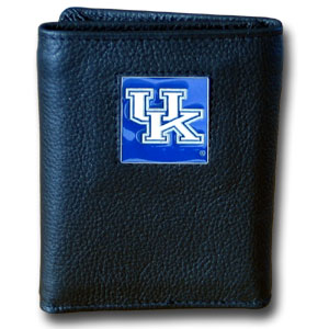 College Tri-fold - Kentucky Wildcats - Our College collectors leather/nylon tri-fold wallet features a sculpted and hand painted team square on a black leather trifold. Includes an ID window, slots for credit cards and clear plastic photo sleeves.  For a sporty feel, the liner of the wallet is high quality nylon. Thank you for shopping with CrazedOutSports.com