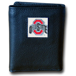 College Tri-fold - Ohio St Buckeyes - Our College collectors leather/nylon tri-fold wallet features a sculpted and hand painted team square on a black leather trifold. Includes an ID window, slots for credit cards and clear plastic photo sleeves.  For a sporty feel, the liner of the wallet is high quality nylon. Thank you for shopping with CrazedOutSports.com
