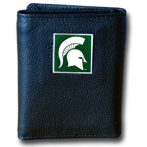 Michigan St. Spartans College Tri-fold Wallet  - This Michigan St. Spartans College Tri-fold Wallet is a leather/nylon tri-fold wallet that features a sculpted and hand painted team square on a black leather exterior. Michigan St. Spartans College Tri-fold Wallet includes an ID window, slots for credit cards and clear plastic photo sleeves.  The Michigan St. Spartans College Tri-fold Wallet has a sporty feel also the liner of the Michigan St. Spartans College Tri-fold Wallet is high quality nylon. Thank you for shopping with CrazedOutSports.com