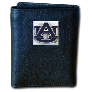 College Tri-fold - Auburn Tigers - Our College collectors leather/nylon tri-fold wallet features a sculpted and hand painted Auburn Tigers team square on a black leather trifold. Includes an ID window, slots for credit cards and clear plastic photo sleeves.  For a sporty feel, the liner of the wallet is high quality nylon. Thank you for shopping with CrazedOutSports.com