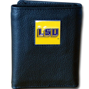 LSU Tigers College Tri-fold - This LSU Tigers College collectors leather/nylon tri-fold wallet features a sculpted and hand painted team square on a black leather trifold. Includes an ID window, slots for credit cards and clear plastic photo sleeves.  For a sporty feel, the liner of the LSU Tigers College Tri-fold wallet is high quality nylon. Thank you for shopping with CrazedOutSports.com