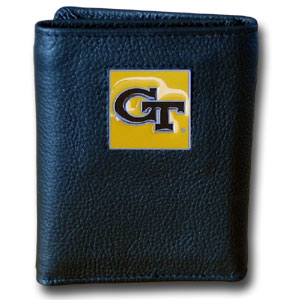 College Tri-fold - Georgia Tech Yellow Jackets - Our College collectors leather/nylon tri-fold wallet features a sculpted and hand painted team square on a black leather trifold. Includes an ID window, slots for credit cards and clear plastic photo sleeves.  For a sporty feel, the liner of the wallet is high quality nylon. Thank you for shopping with CrazedOutSports.com