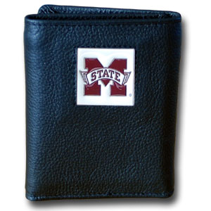 College Tri-fold - Mississippi St. Bulldogs - Our College collectors leather/nylon tri-fold wallet features a sculpted and hand painted team square on a black leather trifold. Includes an ID window, slots for credit cards and clear plastic photo sleeves.  For a sporty feel, the liner of the wallet is high quality nylon. Thank you for shopping with CrazedOutSports.com