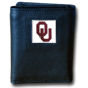 College Tri-fold - Oklahoma Sooners - Our College collectors leather/nylon tri-fold wallet features a sculpted and hand painted team square on a black leather trifold. Includes an ID window, slots for credit cards and clear plastic photo sleeves.  For a sporty feel, the liner of the wallet is high quality nylon. Thank you for shopping with CrazedOutSports.com