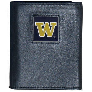 College Tri-fold - Washington Huskies - Our College collectors leather/nylon tri-fold wallet features a sculpted and hand painted team square on a black leather trifold. Includes an ID window, slots for credit cards and clear plastic photo sleeves.  For a sporty feel, the liner of the wallet is high quality nylon. Thank you for shopping with CrazedOutSports.com
