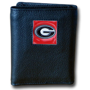 College Tri-fold - Georgia Bulldogs - This Georgia Bulldogs College collectors leather/nylon tri-fold wallet features a sculpted and hand painted Georgia Bulldogs square on a black leather trifold. Includes an ID window, slots for credit cards and clear plastic photo sleeves.  For a sporty feel, the liner of the wallet is high quality nylon. Thank you for shopping with CrazedOutSports.com